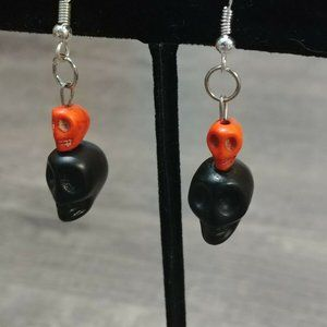 Jewelry - Black & Orange Skull Howlite Stone Earrings